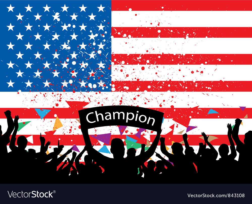 Crowd cheer america vector