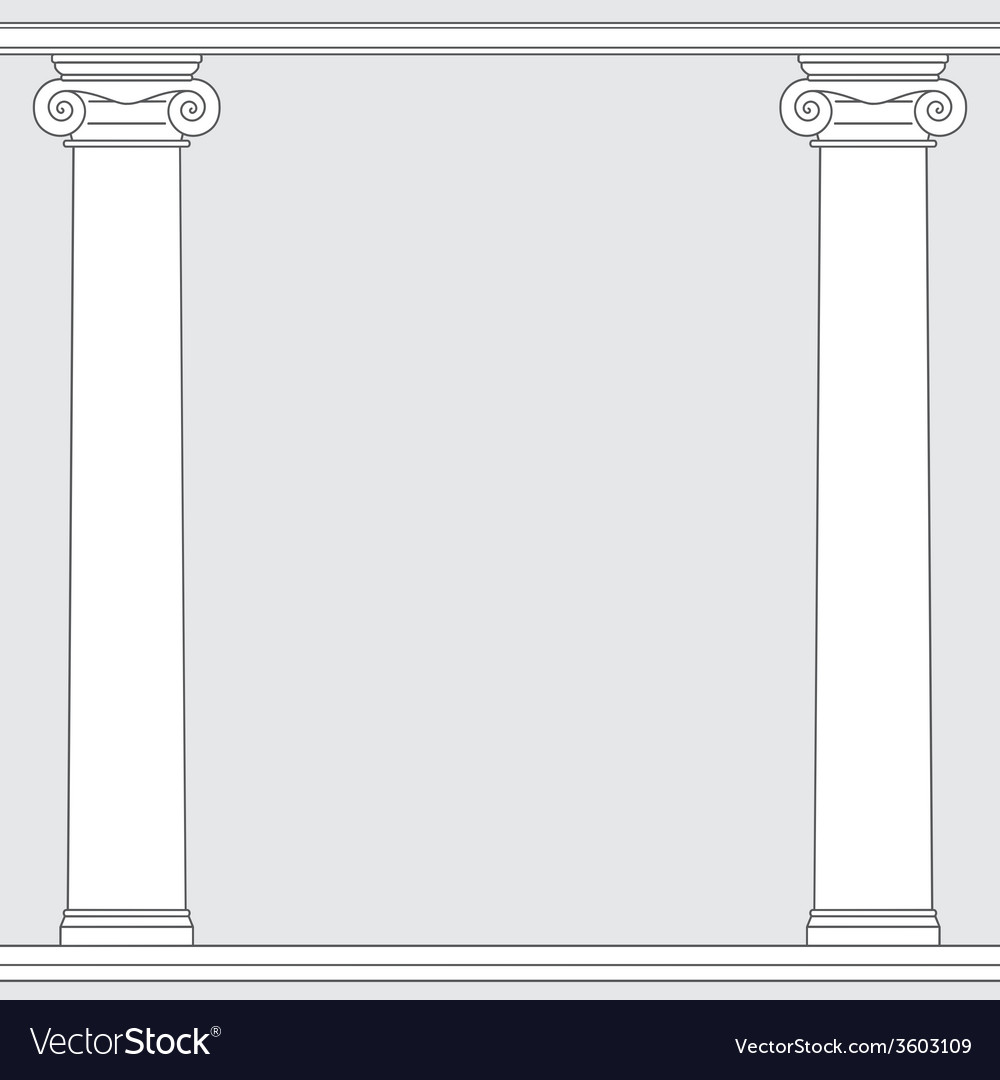 Black and white line drawing ionic order columns vector