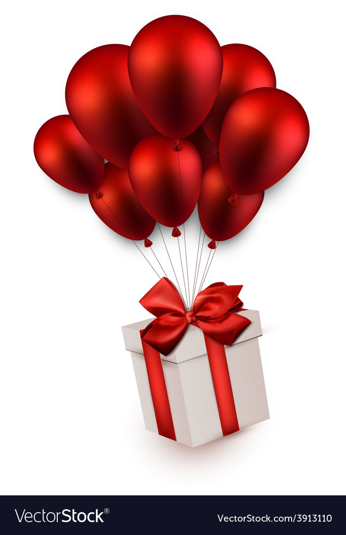 Gift box on red balloons vector