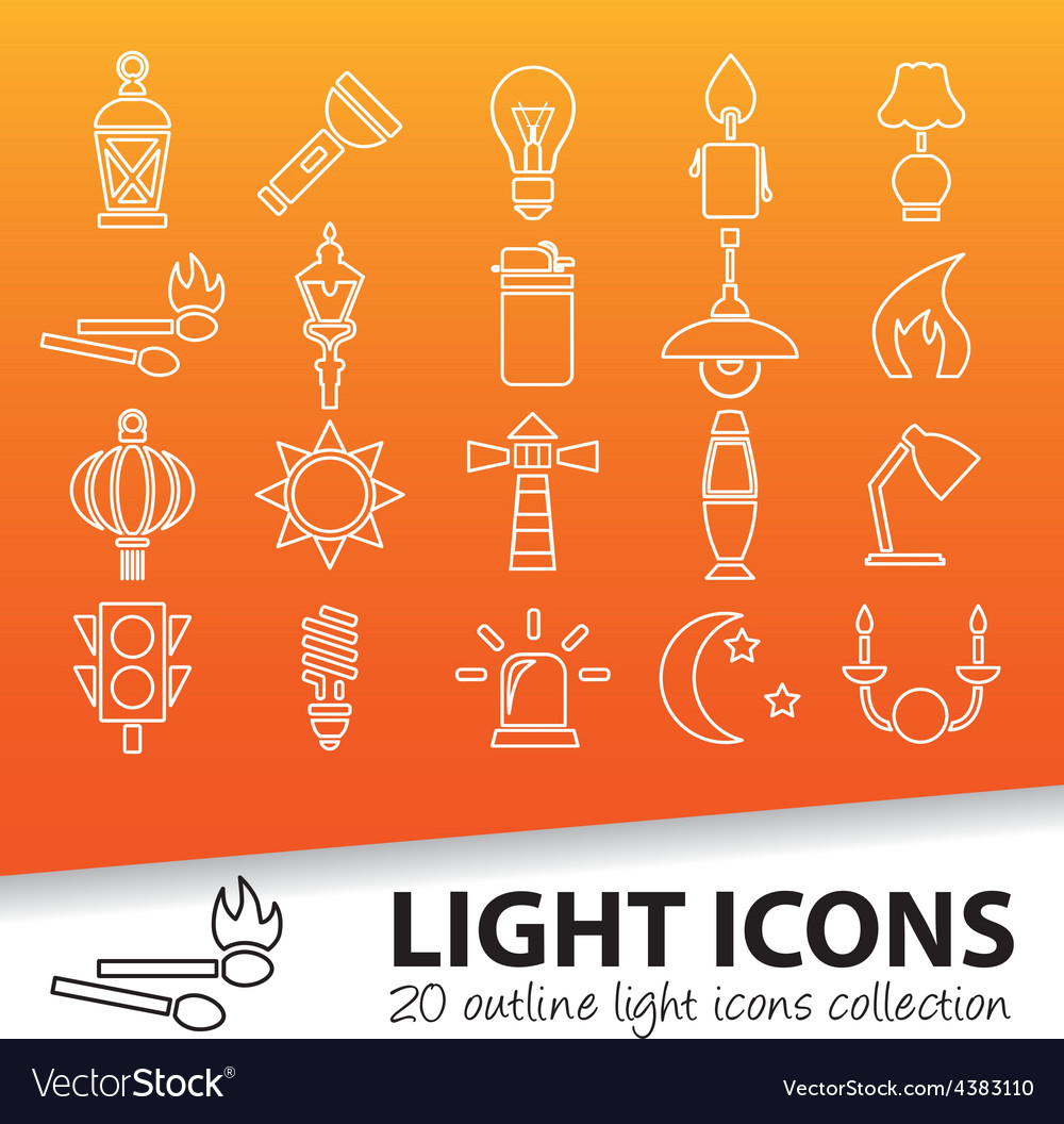 Light outline icons vector