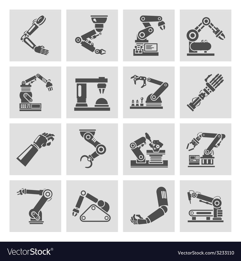 Robotic arm icons black vector