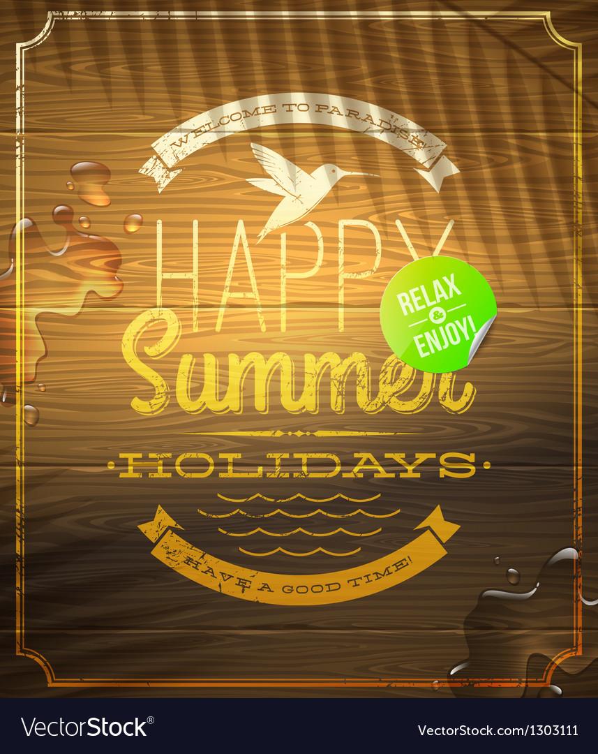 Summer holidays greeting emblem and sticker vector