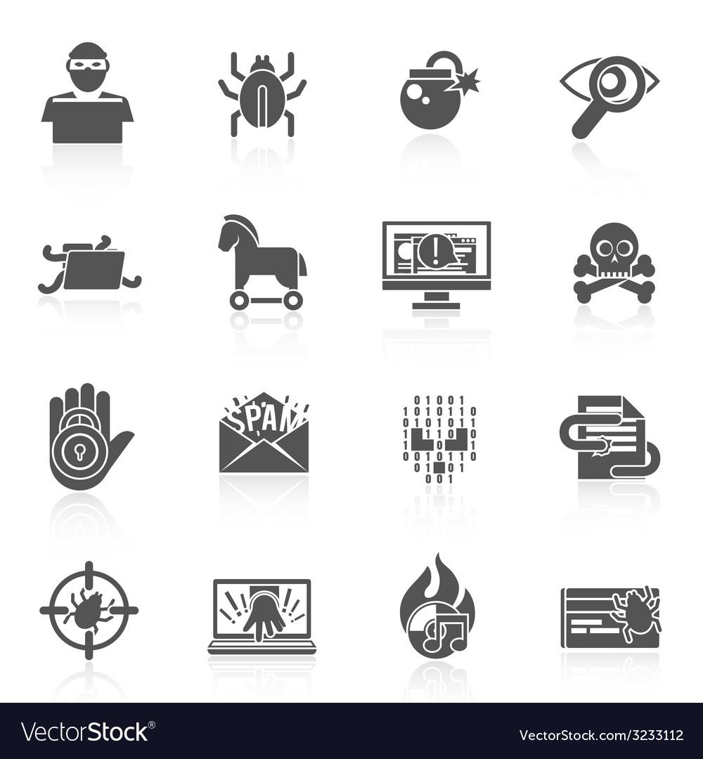 Hacker icons black set vector