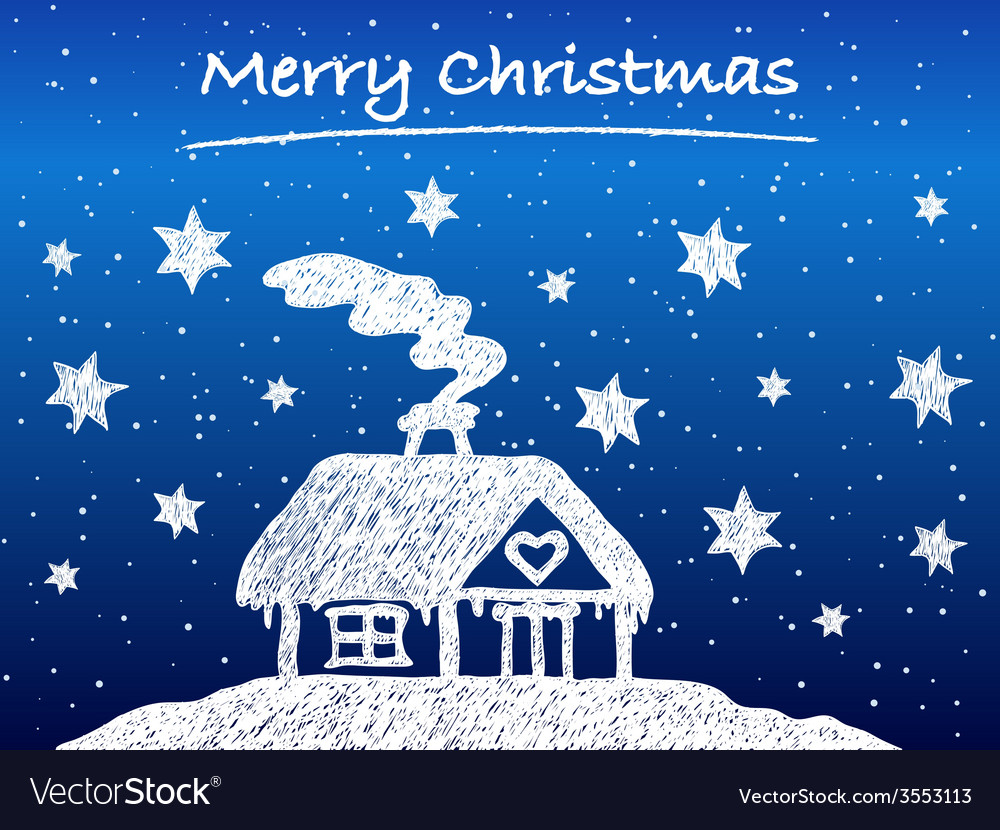 Christmas cottage with snow at night vector