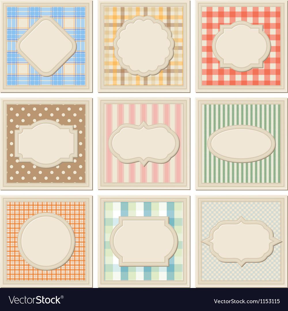 Vintage patterned card templates set vector