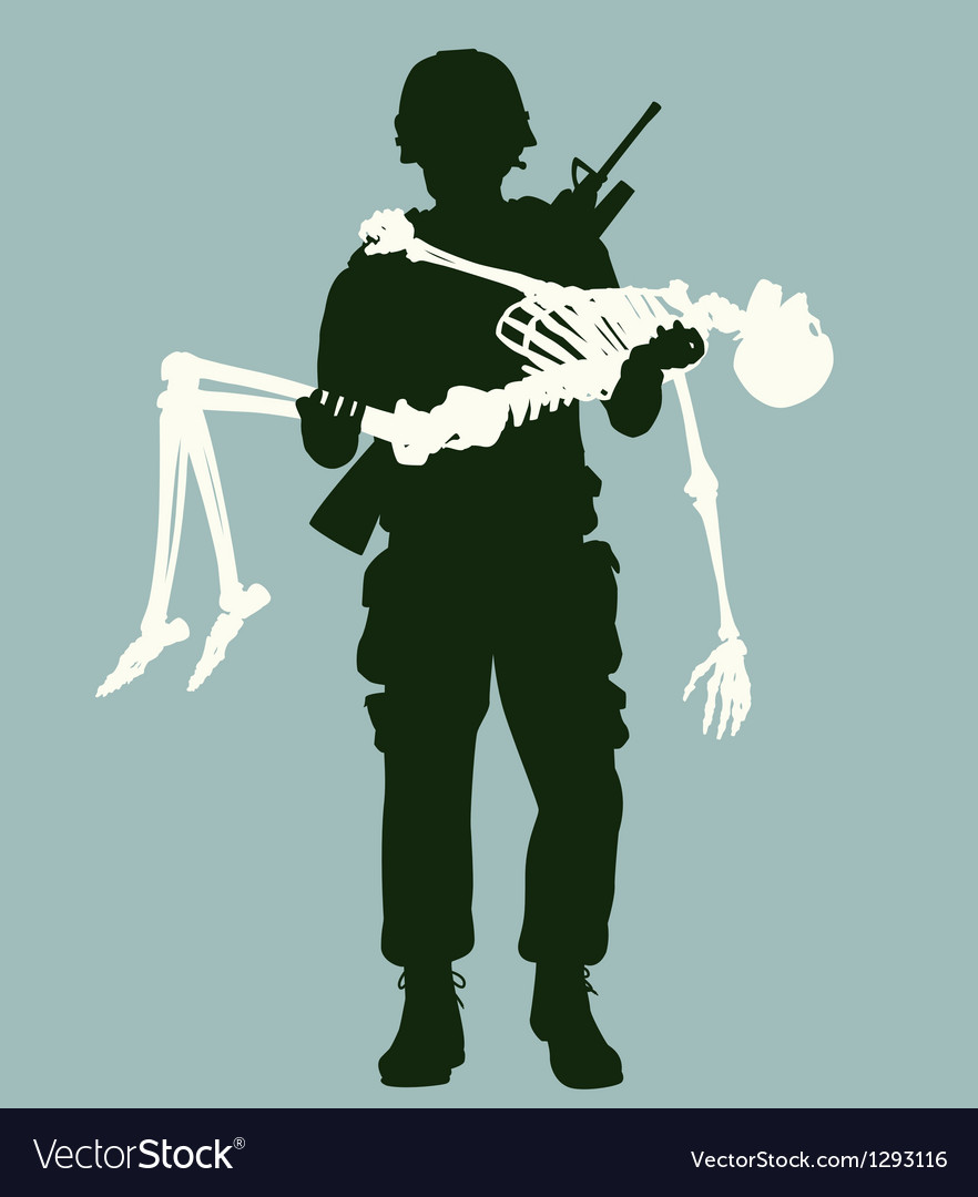 Soldier carrying skeleton vector