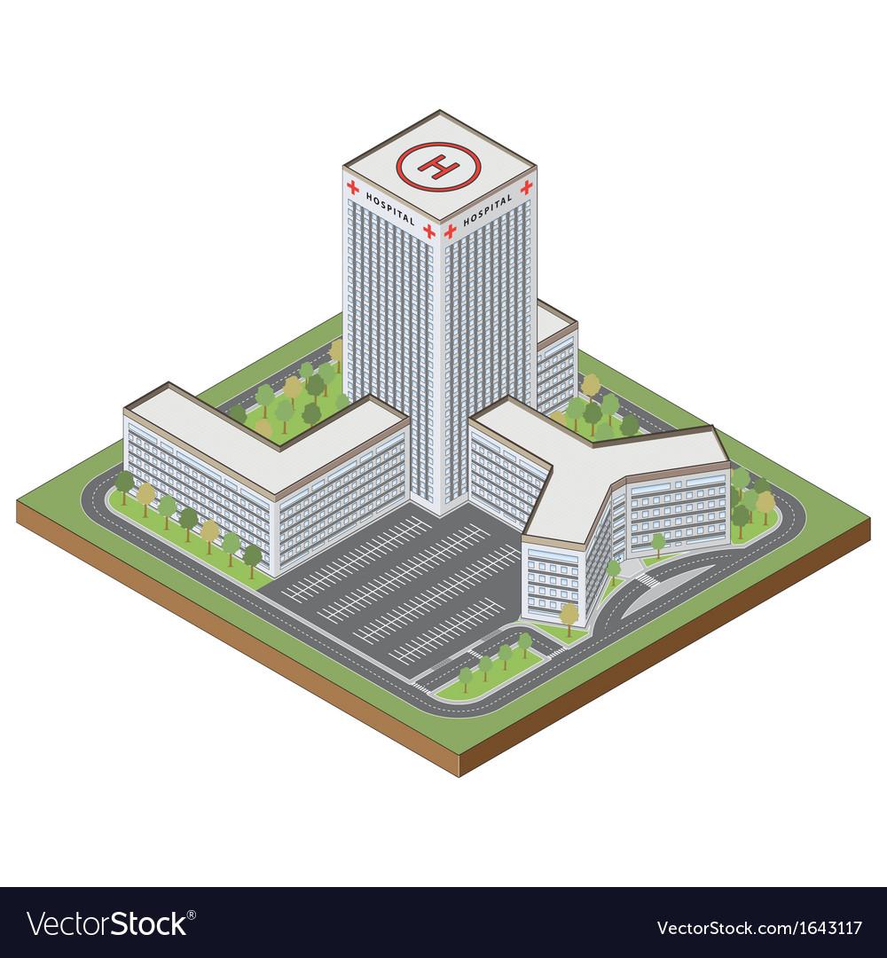 Isometric hospital building vector