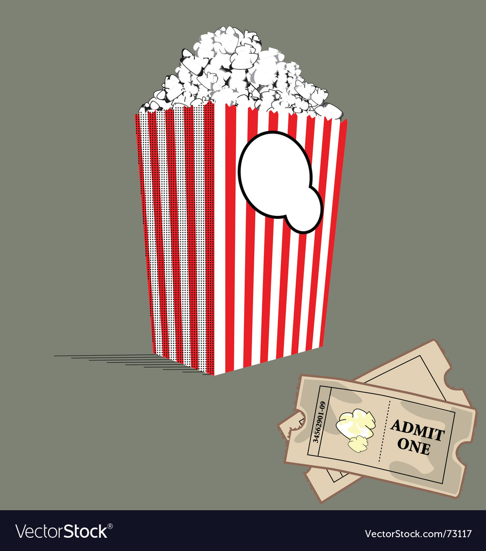 Popcorn and tickets vector