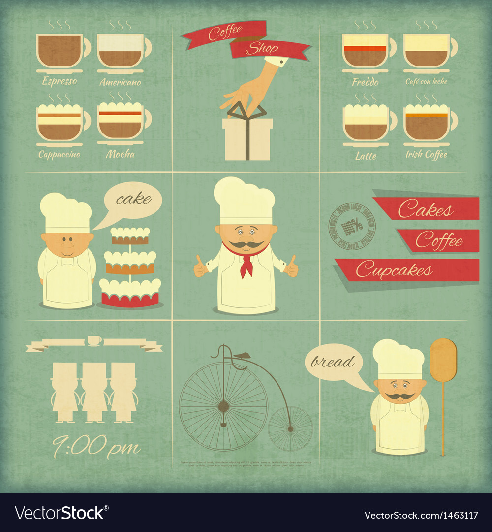 Retro cover menu for bakery vector