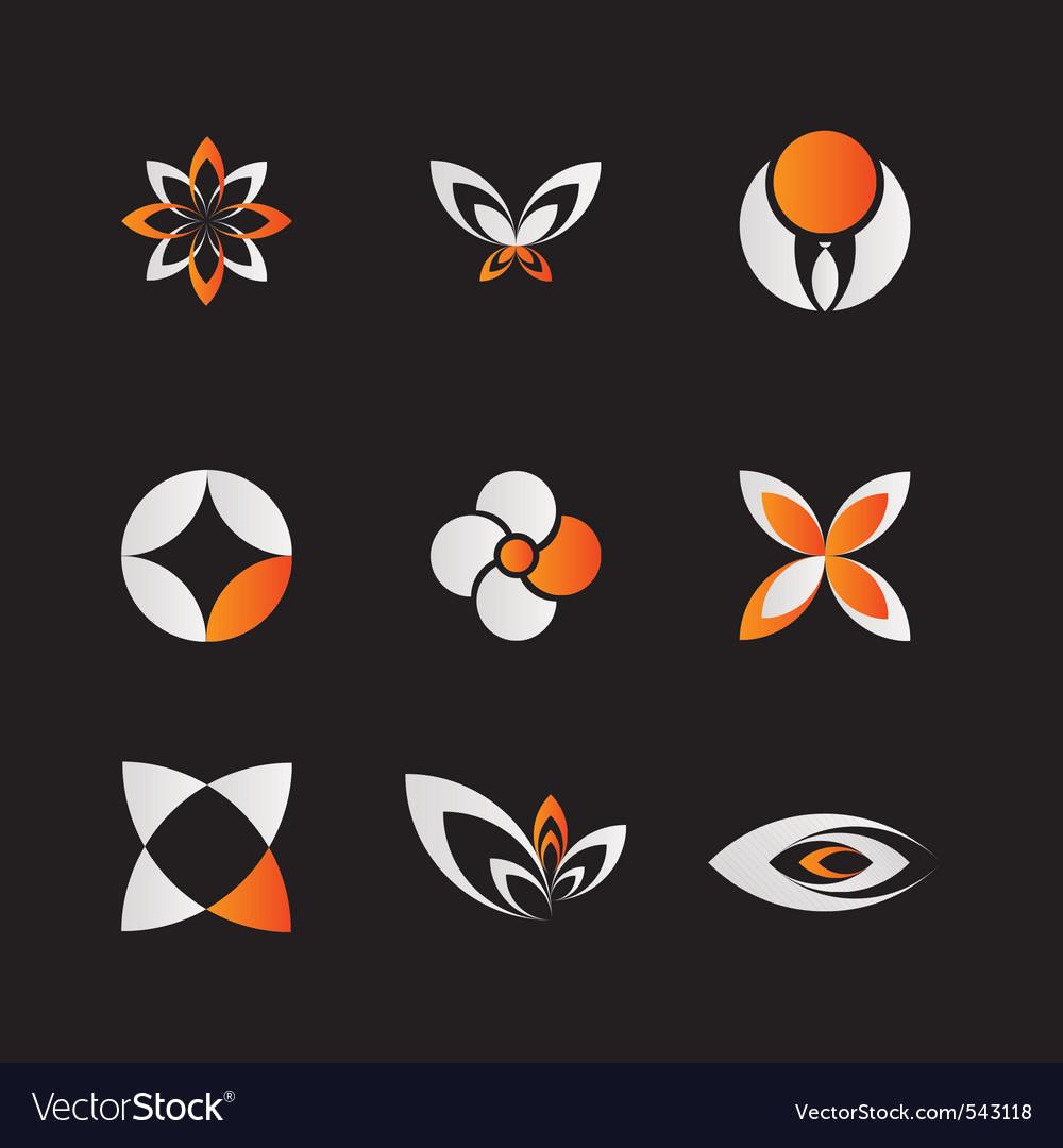 Orange logo elements vector