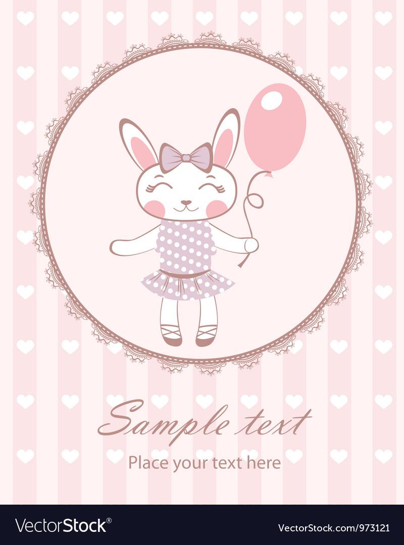 Cute bunny girl with balloon vector