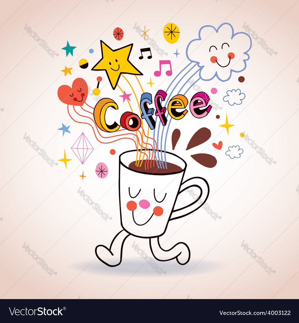 Cartoon coffee cup cute character vector