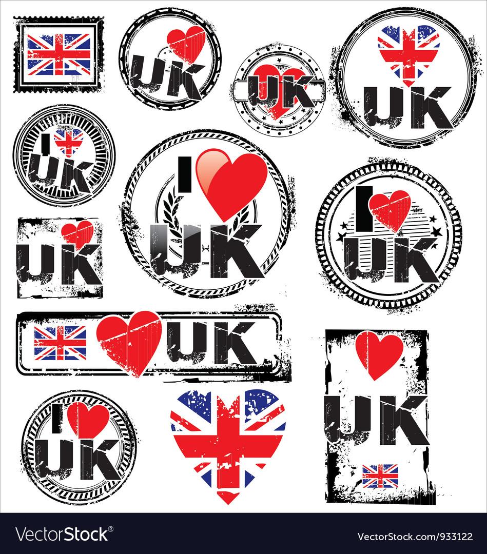 I love uk ink rubber stamp set vector