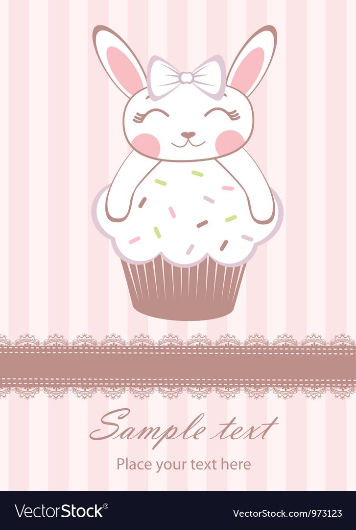 Cute bunny on cupcake card vector