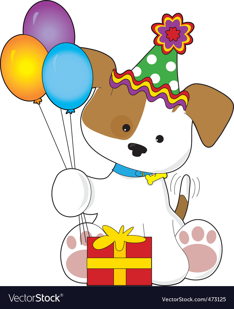 Cute puppy birthday vector