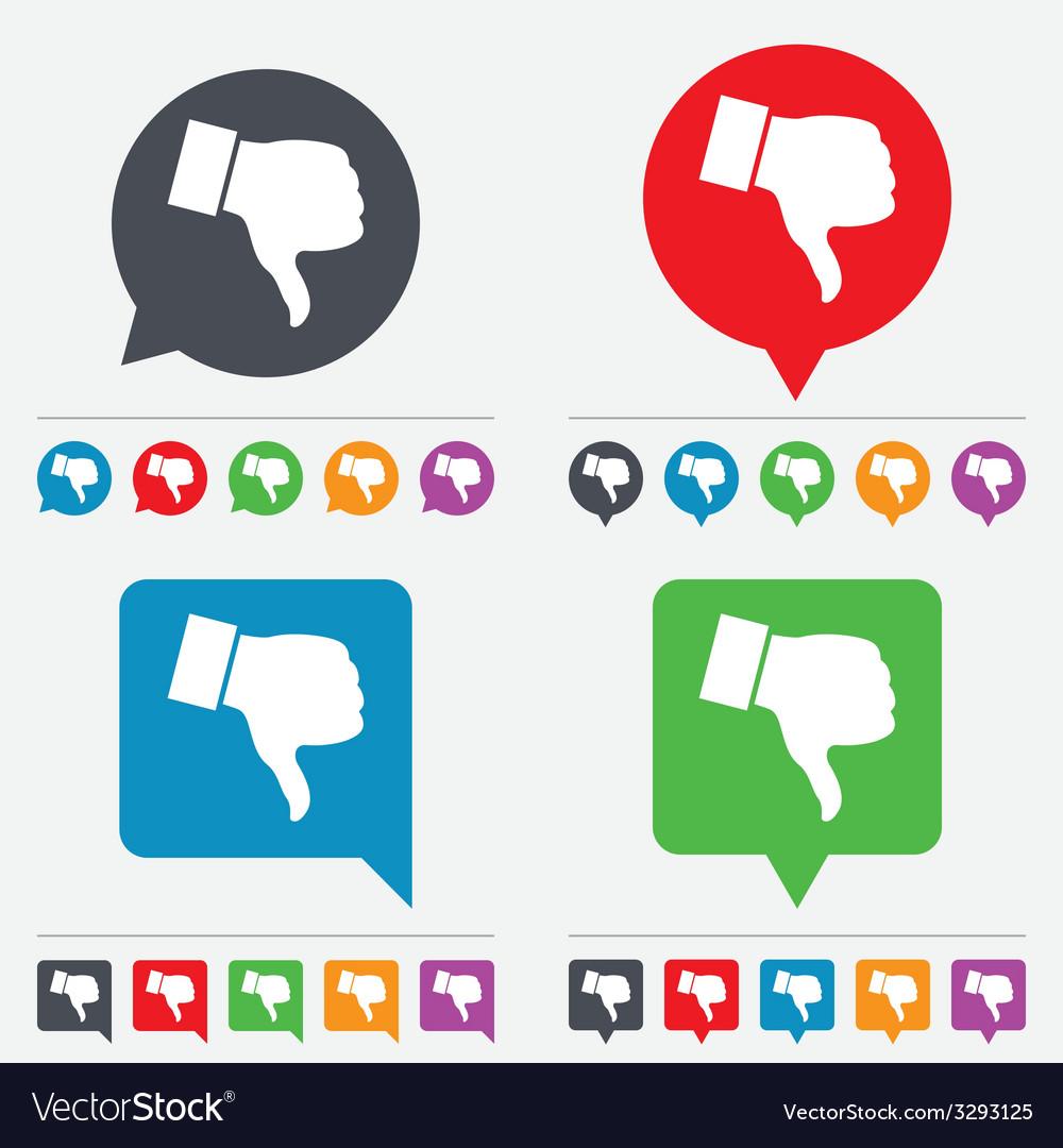 Dislike sign icon hand finger down symbol vector
