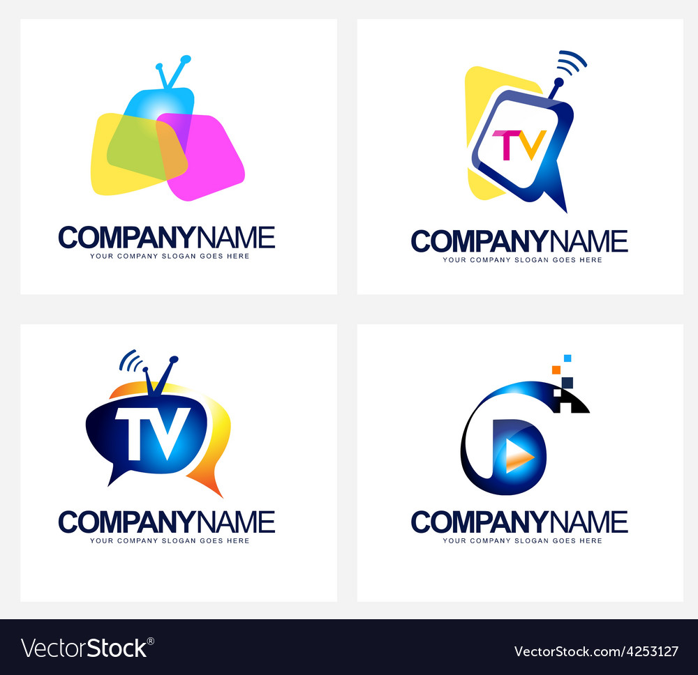 Tv broadcast logo vector