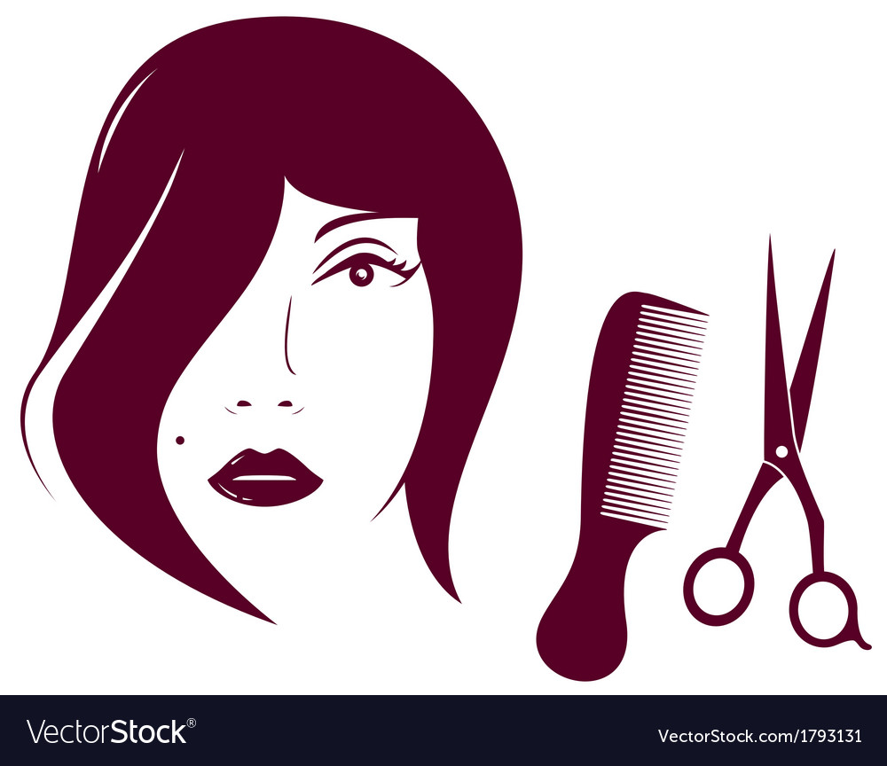 Beauty woman face with comb and scissors vector