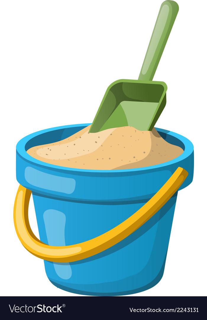 Sand bucket and shovel vector