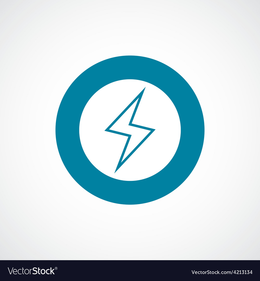 Lightning icon bold blue circle border vector