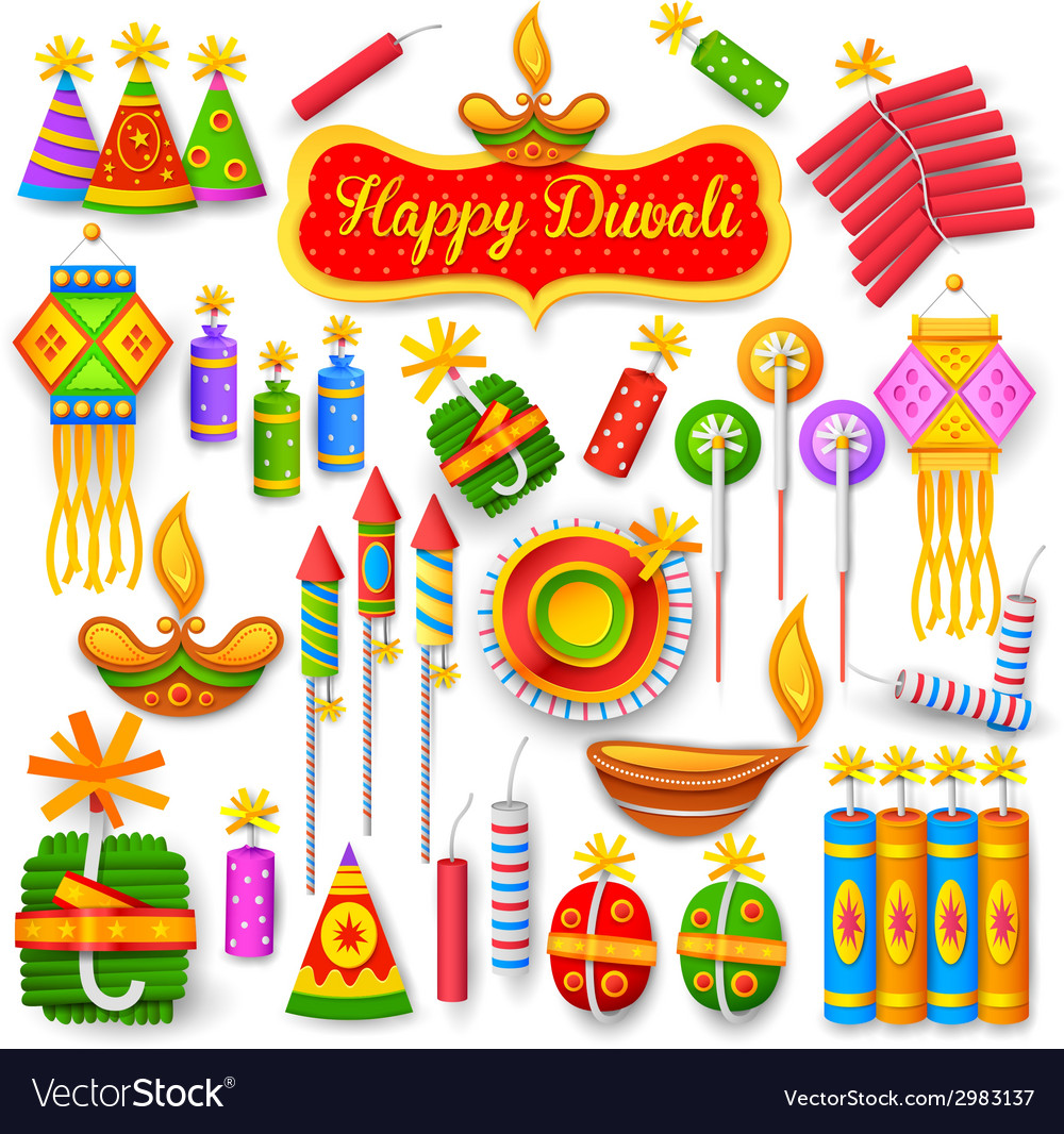 Colorful firecracker for diwali holiday fun vector
