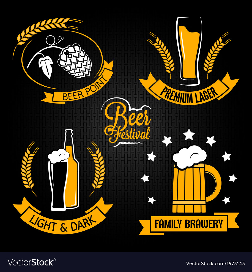 Beer glass bottle label set vector