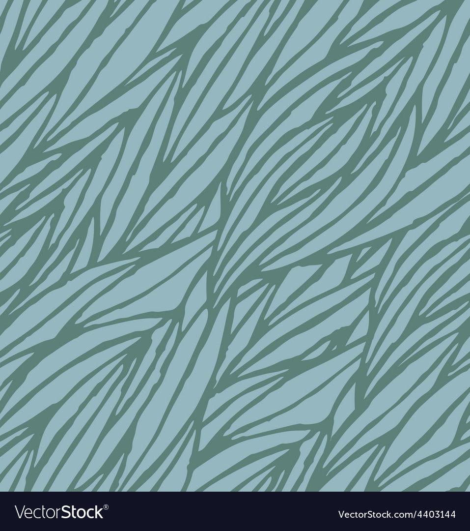 Abstract blue hand-drawn waves seamless pattern vector