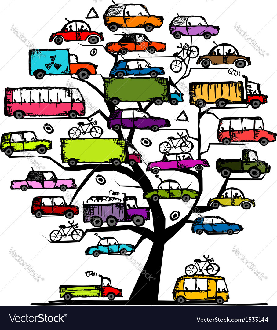 Tree with cars transportation concept for your vector