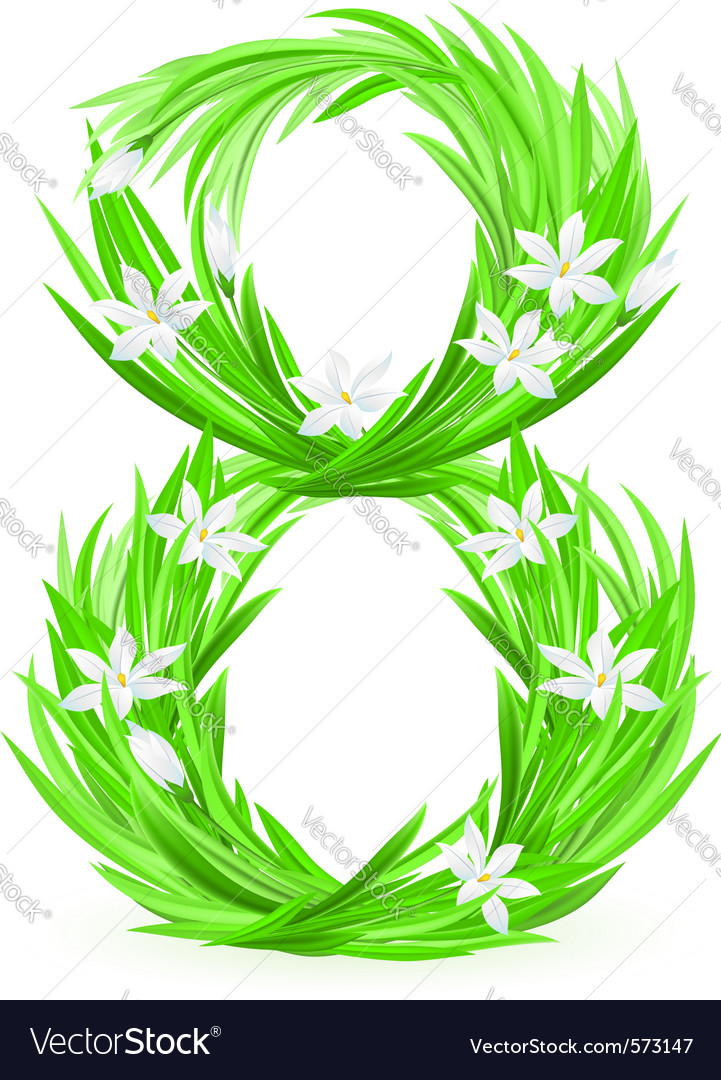 Grass letters number 8 vector