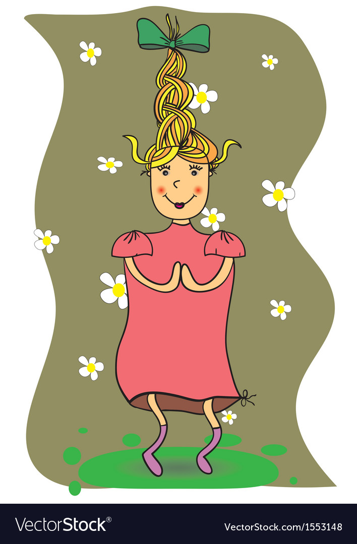 A girl jumping and running around with joy vector