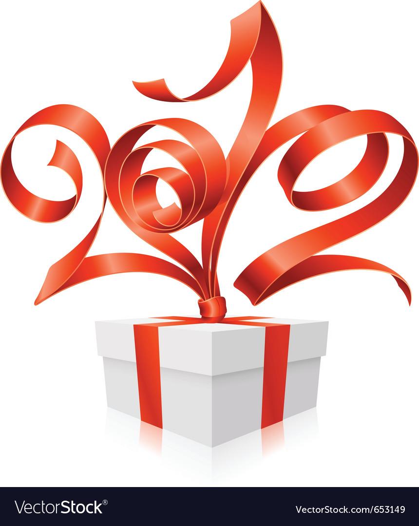 Gift box and red ribbon vector