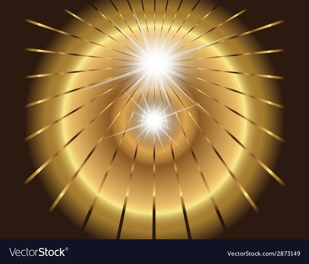 Two star burst ray with lens flare golden vector