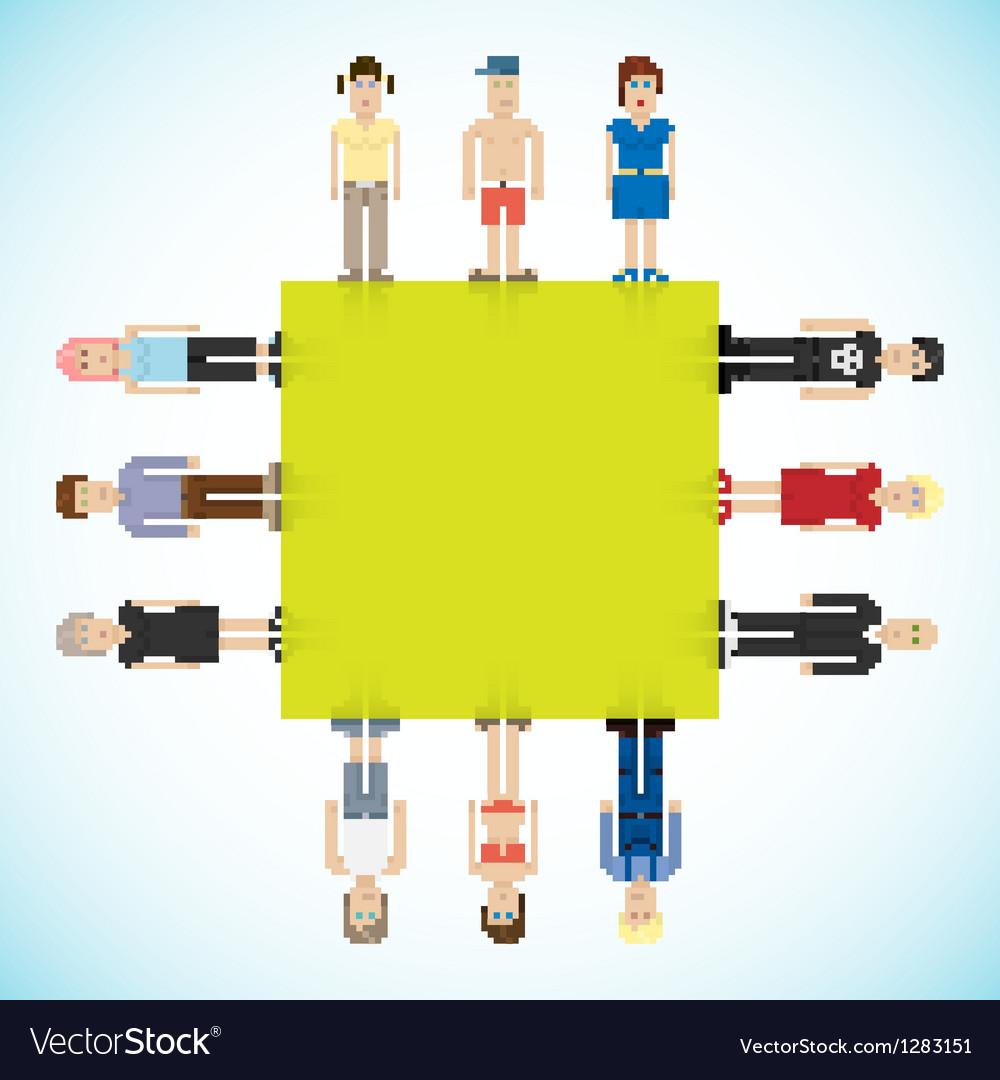 Banner with pixel people vector