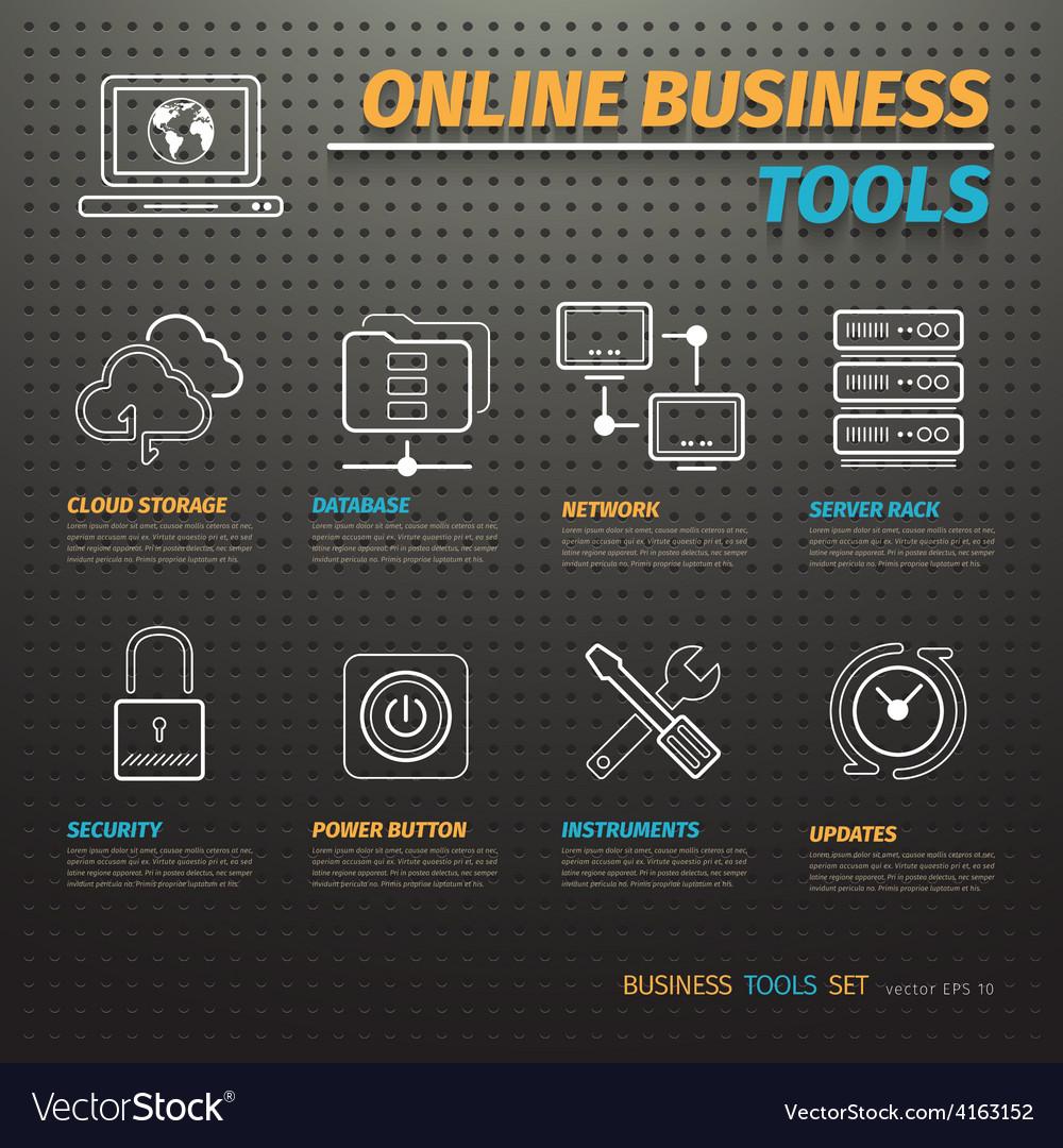 Online business tools on dark pegboard vector