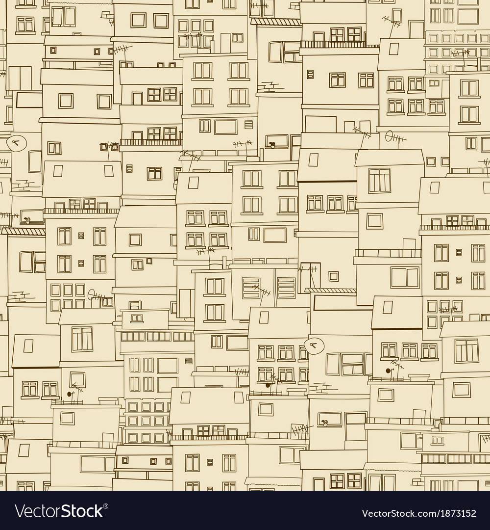 Seamless old town vector