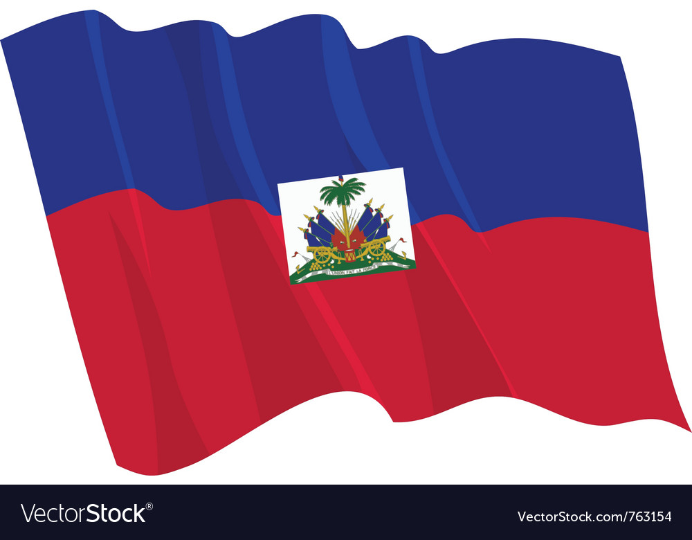 Political waving flag of haiti vector