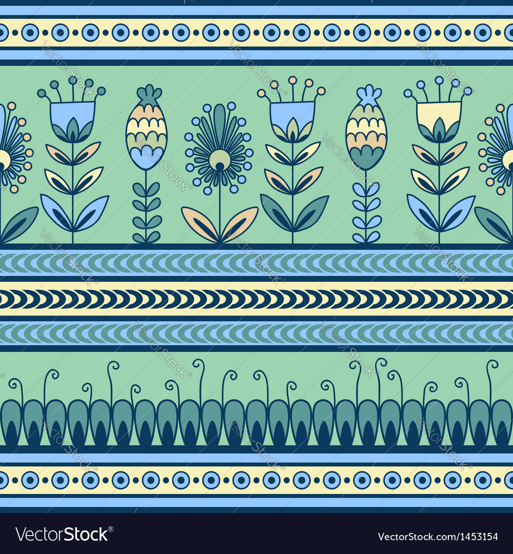 Seamless pattern with floral ornament in the decor vector