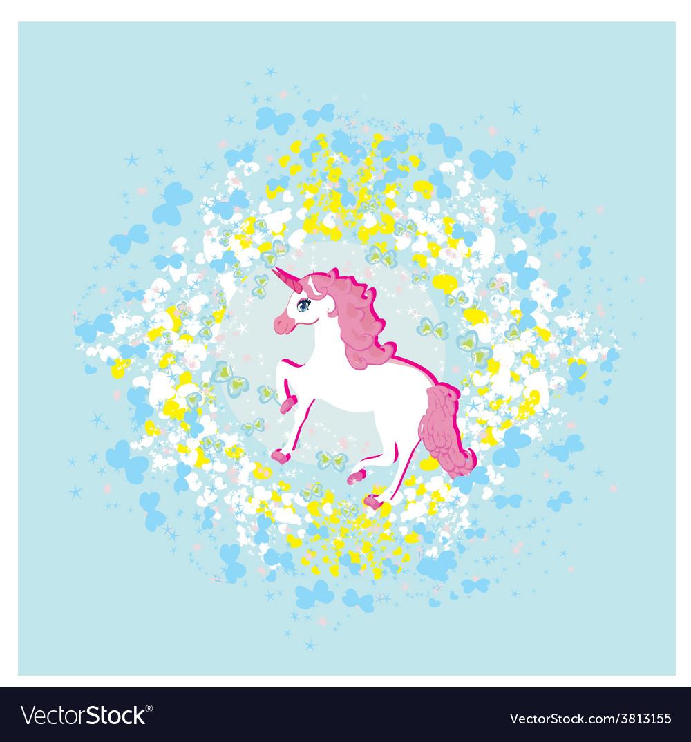 Beautiful pink unicorn vector