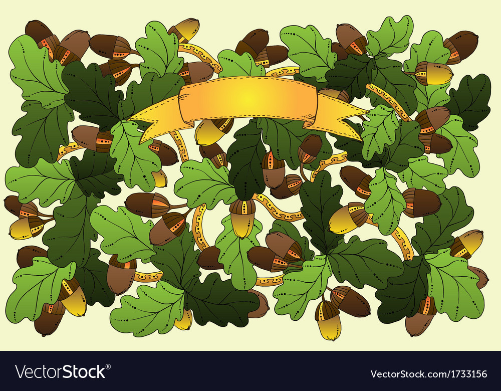 Floral card with oak leaves and acorns vector