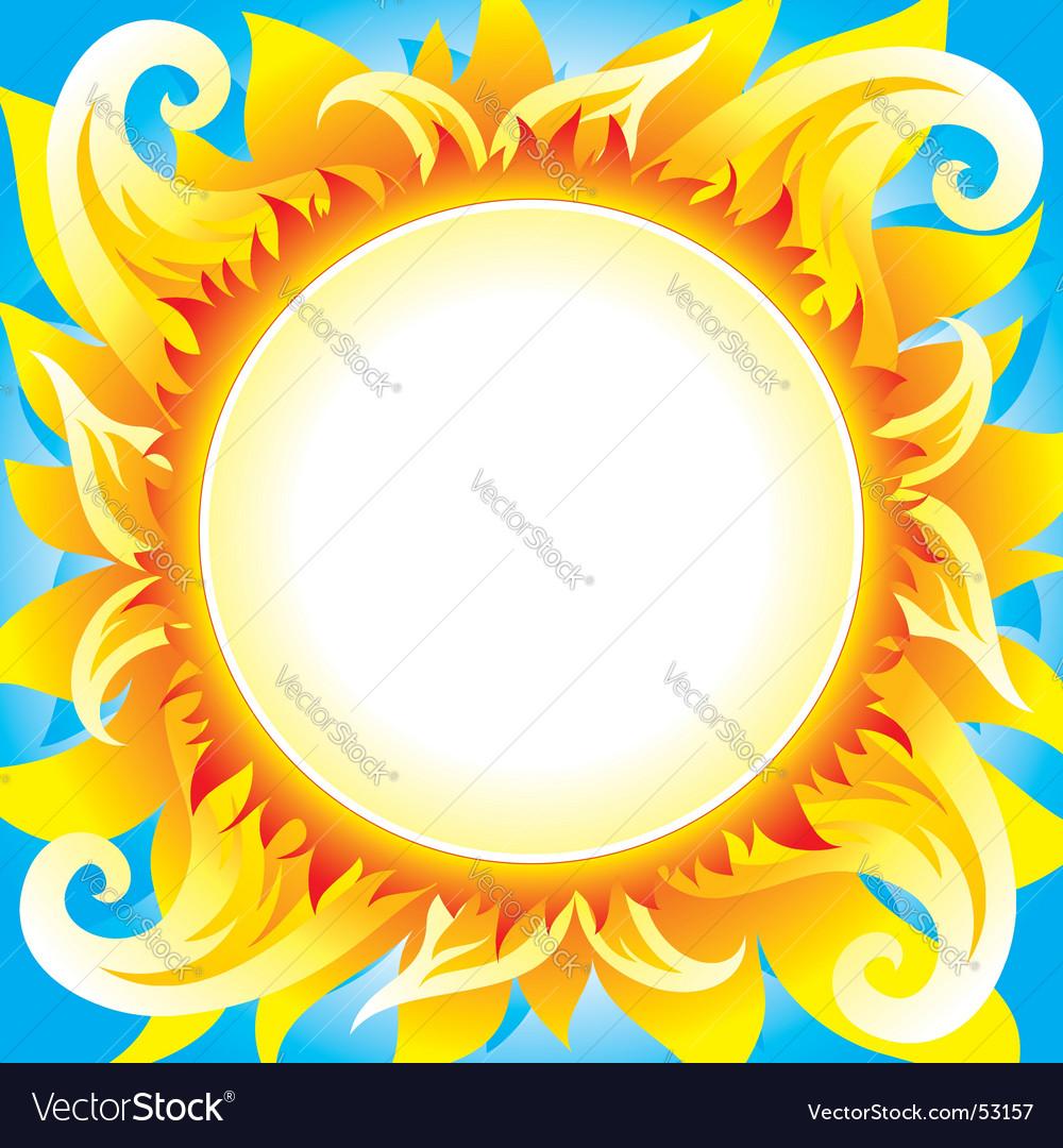 Fiery sun vector