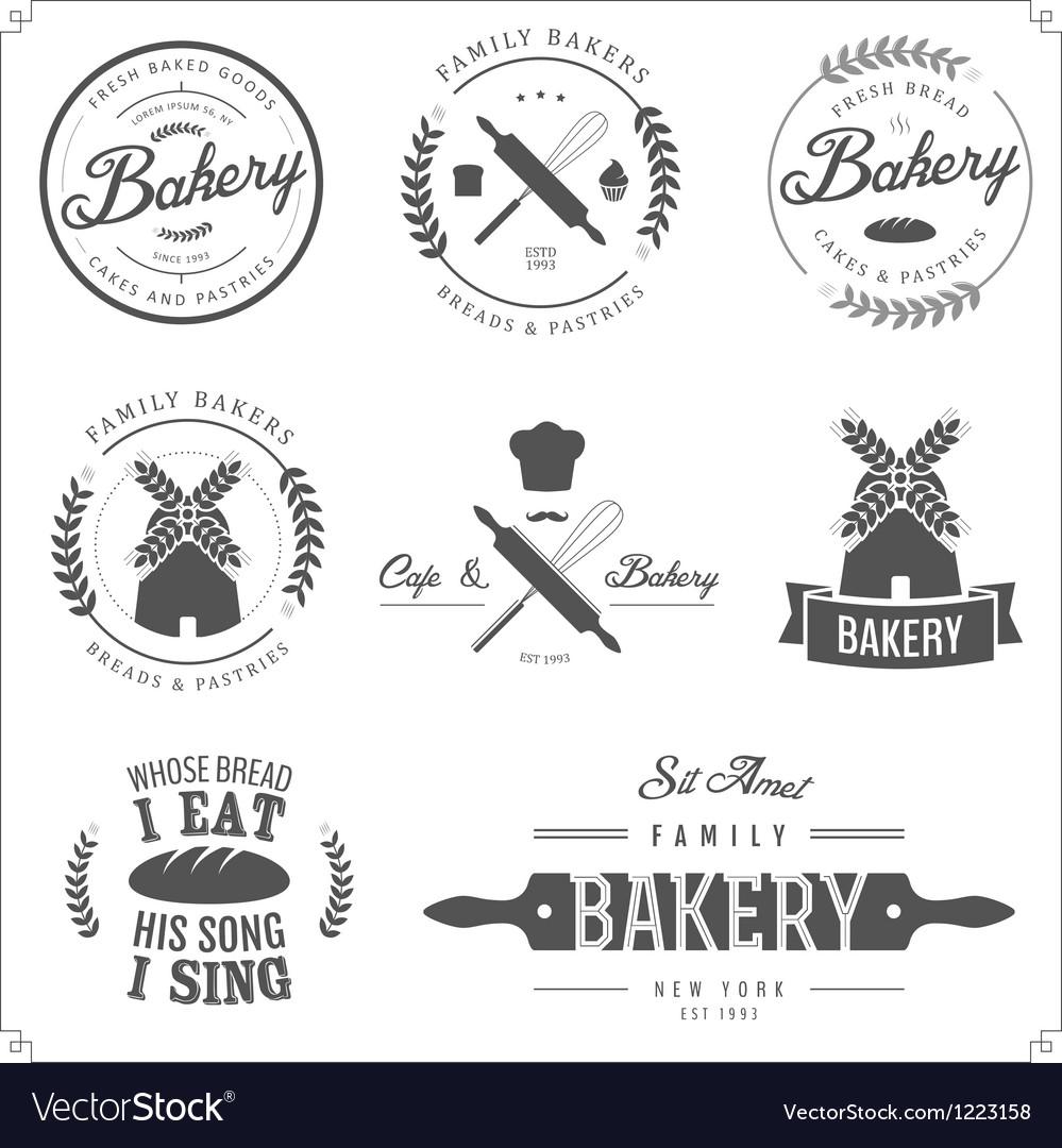 Set of bakery labels badges and design elements vector
