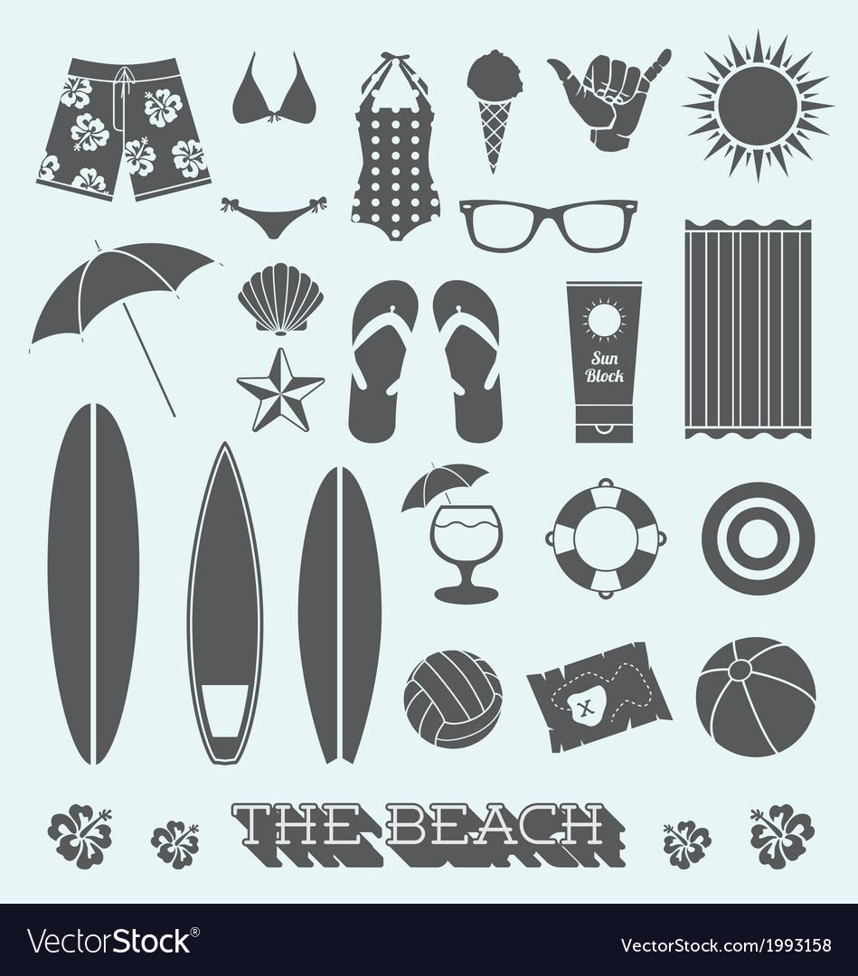 Under the sun beach icons vector