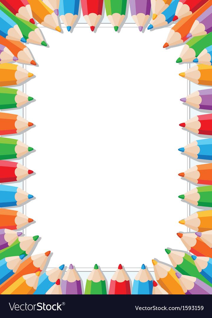 Color pencils frame vector