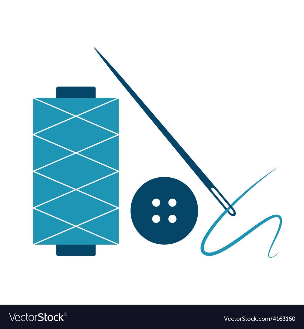 Needle thread and button vector