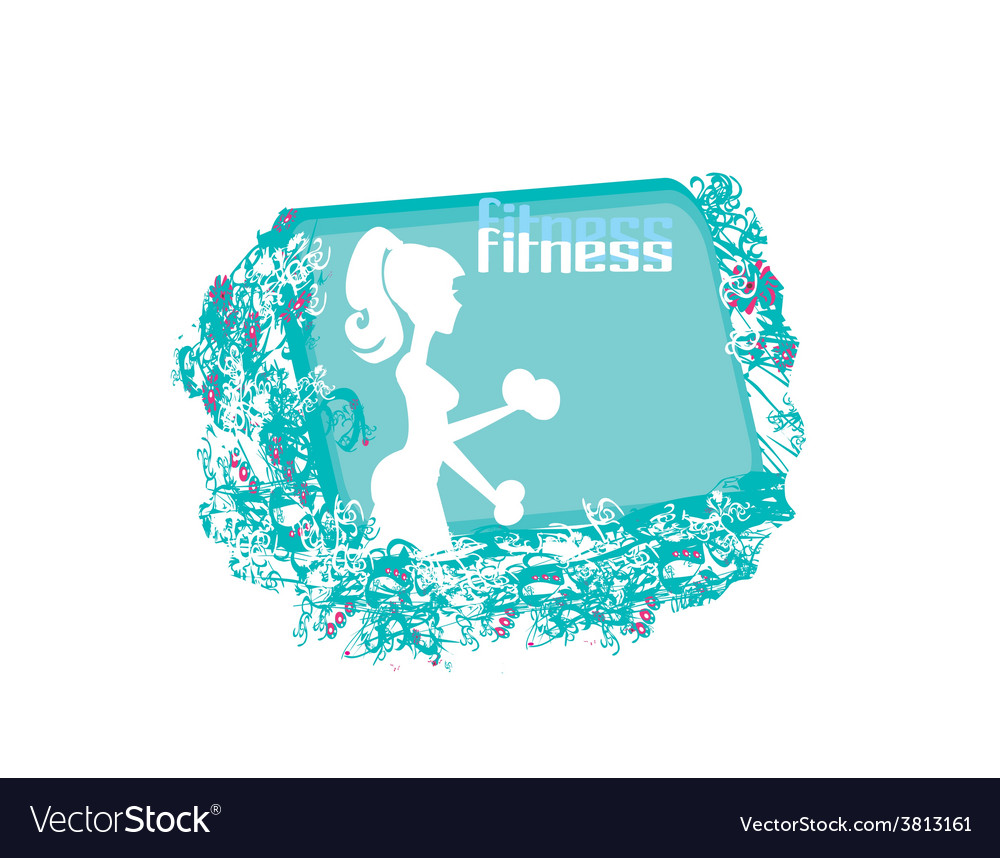 Fit woman exercising with two dumbbell weights on vector