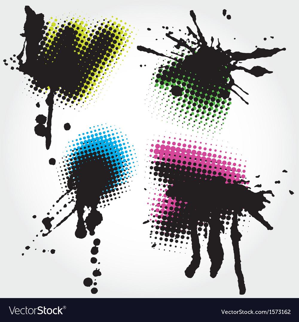 Colorfull grunge splashes vector