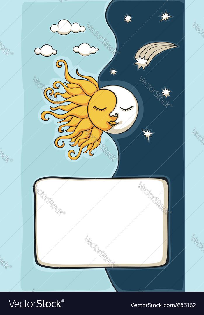Sun and moon cartoon vector