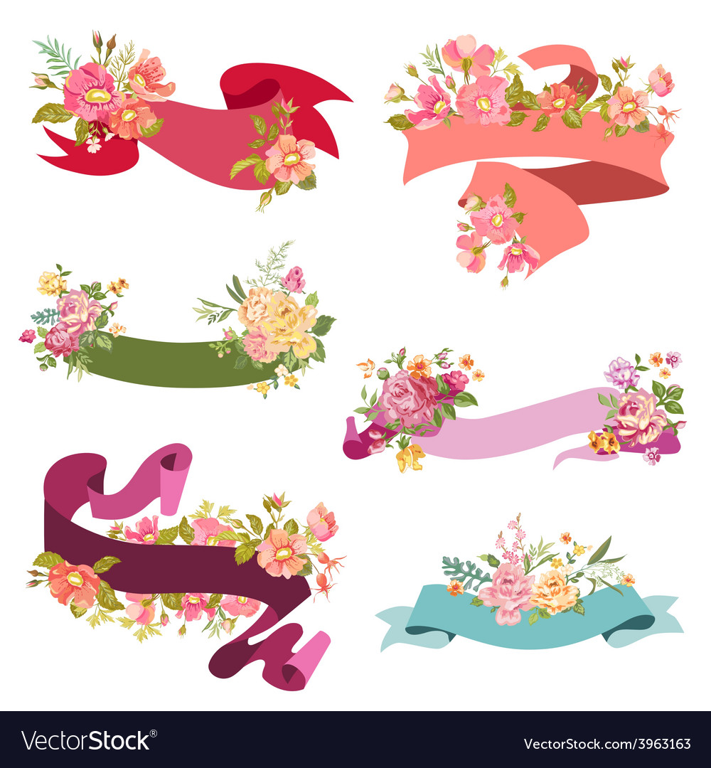 Floral-ribbon-banners---for-wedding-vector