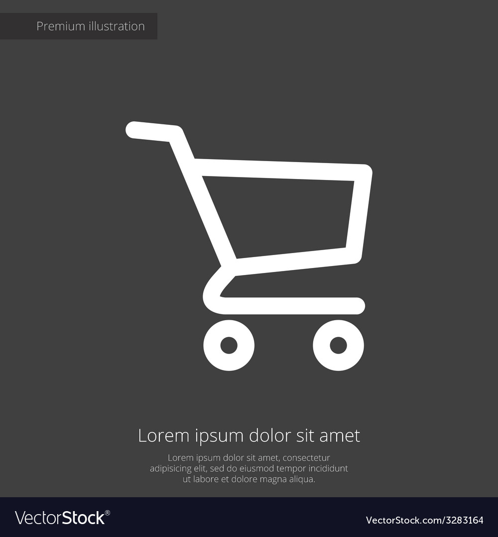 Shopping cart premium icon white on dark backgroun vector
