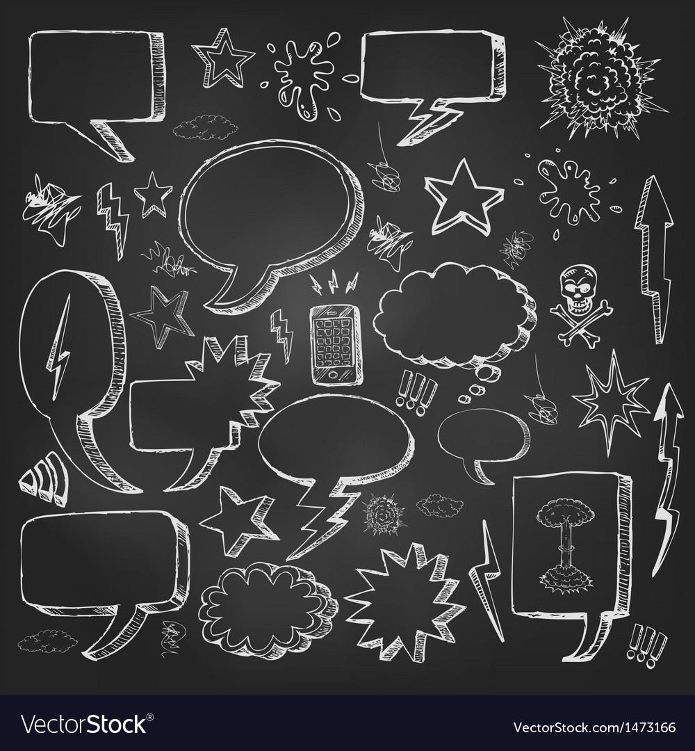 Speech bubbles doodles in black chalkboard vector